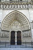 France, Paris 75  Notre Dame cathedral, main gate with Last Jdgement portal