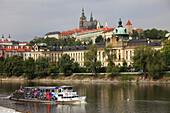 Czech Republic, Prague, Castle, Vltava River, sightseeing boat