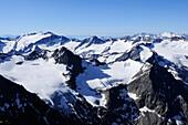 Summits and glaciers of Stubai mountain range, Schrankogel, Stubai range, Tyrol, Austria