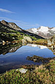 Mountains reflecting in a small lake in the mountains, Hangerer, Gurgl, Oetztal mountains range, Oetztal, Tyrol, Austria