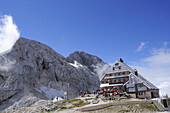 Triglav Hut and Triglav, Triglavski dom, Triglav, Triglav national park, Julian alps, Slovenia