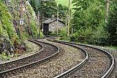 Railway track curve, Semmering railway, UNESCO World Heritage Site Semmering railway, Lower Austria, Austria