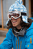 Man wearing woolen hat and ski goggles, Flims, Canton of Grisons, Switzerland
