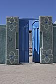 Blue gate in the sunlight, Sudan, Africa