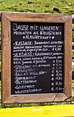 Menu board at Loosegg Alm, Salzburger Land, Austria