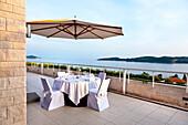 Patio, Hotel Radisson Blu, Dubrovnik, Dalmatia, Croatia