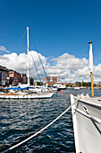 City Hall, Boats at Aker Brygge, Oslo, South Norway, Norway