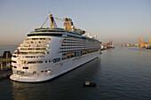 Cruiseship Adventure of the Seas at pier, Barcelona, Catalonia, Spain, Europe
