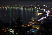 Beach and bay of Pattaya, nightlife, walking street, Chonburi Province, Thailand, Asia