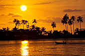 Sunset and fishing boat at the westcoast of Koh Chang Island, Trat Province, Thailand, Asia