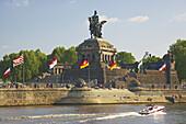 Koblenz, German Corner (Deutsches Eck), confluence of Rhine and Mosel, Rhineland-Palatinate, Germany, Europe