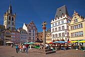 Main Market Square with Steipe, church Saint Gangolf and Marktkreuz, Trier, Rhineland-Palatinate, Germany