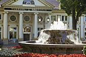 Fountain in front of the thermal-bathhouse, Thermal-spa, Spa, Bad Neuenahr, Bad Neuenahr-Ahrweiler, Ahr, Eifel, Rhineland-Palatinate, Germany, Europe