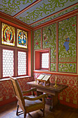 Mural painting, Eltz castle, Wierschem, Eifel mountains, Rhineland-Palatinate, Germany