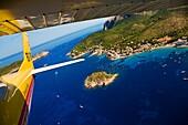 Flying over Sant Elm with Sa Dragonera island in background, Majorca, Balearic Islands, Spain