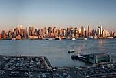 Panorama of Midtown Manhattan skyline across Hudson River from New Jersey, New York City, USA