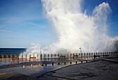 Breawing waves at Paseo Nuevo, San Sebastian, Guipuzcoa, Basque Country, Spain