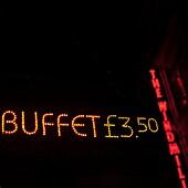 Aufsehen, Aussen, Buffet, Farbe, Information, Konzept, Nacht, Neon, Pfund Sterling, Preis, Rot, Schild, Vertikal, B75-1003374, AGEFOTOSTOCK