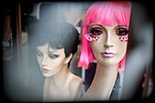 accessory, Color image, concept, dummy, False eyelash, head, headshot, horizontal, indoors, interior, lifeless, lifelessness, mannequin, odd, outlandish, pink, portrait, special effect, strange, style, weird, wig, B75-1072509, AGEFOTOSTOCK