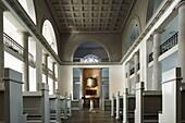 D-Neumuenster, Schleswig-Holstein, church Saint Vicelin, evangelic church, classicism, interior view, choir, altar, baptismal font