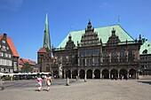 D-Bremen, Weser, Freie Hansestadt Bremen, market place, residential buildings, church Unser Lieben Frauen, Liebfrauen church, Early Gothic, city hall, Gothic, Weser renaissance, UNESCO World Heritage Site