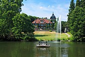 D-Bergisch Gladbach, Bergisches Land, North Rhine-Westphalia, castle Lerbach, English country style, European Academy Lerbach, Gustav Stresemann Institute, hotel, country house hotel, restaurant, pond, ducks home, fountain