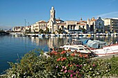 General view of Sete town, along the water, 34200 Herault France