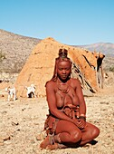 Namibia - Himba woman with the typical leather headdress of the married women In a village near the Epupa Falls Kaokoland, Kunene region, northern Namibia