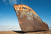 Morocco - The Zahra shipwreck at the shore of the Atlantic Ocean south of the town of Sidi Ifni in southwest Morocco