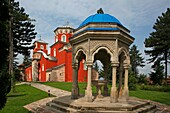 Serbia, Zica Monastery, early 12th century, first Serbian autonomous Archbishopric from 1218, Orthodox, christian, religious, exterior, outside, facade, colour, spring well