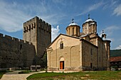 Serbia, Manasija Monastery, founded by Despot Stefan Lazarevi, 1407-1418, Church of St Trinity, fortification wall, Orthodox, christian, religious, exterior, outside, facade, colour