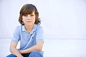 blue, blue eyes, boy, brown hair, Caucasian ethnicity, chestnut hair, child, childhood, clipping path, Color image, contemporary, denim, headshot, horizontal, human, infancy, jeans, kid, looking at camera, Male, one, one person, people, Polo shirt, portra