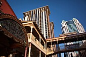 USA, Florida, Orlando, Church Street Station area, highrise buildings