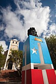 Puerto Rico, North Coast, Karst Country, Lares, town church and Puerto Rican monument