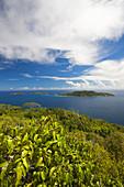Island view from Nid d,  Aigle Peak (el. 333 meters), La Digue island, Seychelles