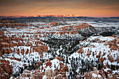 Bryce Amphitheater from Inspiration Point at dusk in winter, Bryce Canyon National Park, Utah, USA