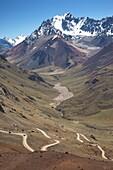 Argentina, Mendoza Province, Las Cuevas, road to Cristo Redentor (Christ the redeemer) statue by Cerro Aconcagua 6.962 meters