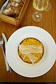 France, Tarn, Gaillac, wine producers restaurantvignes en foule', chef Julien Bourdaries risotto et sardines marinées & croquettes