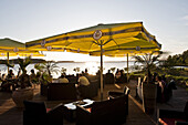 Restaurant with view across the bay, Bodden, island of Rügen, Mecklenburg-Vorpommern, Germany