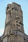 Landau, Monument in front of the Art Nouveau Festival Hall (1905-07, Hermann Goerke), Partial view, Südliche Weinstraße, German Wine Route, Palatinate, Rhineland-Palatinate, Germany, Europe