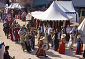 Medieval festival at Hardenburg ruin in 2009, Bad Dürkheim, Deutsche Weinstraße, Palatinate, Rhineland-Palatinate, Germany, Europe
