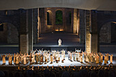 Performance of opera Nabucco in Stiftsruine open-air theater, Bad Hersfeld, Hesse, Germany, Europe