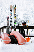 Free skiing equipment, Mayrhofen, Ziller river valley, Tyrol, Austria