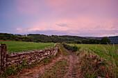 Landscape in the evening light near Parrocha, near Portomarin, Camino Frances, Way of St. James, Camino de Santiago, pilgrims way, UNESCO World Heritage, European Cultural Route, province of Lugo, Galicia, Northern Spain, Spain, Europe