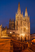 Burgos cathedral in teh evening light, Gothic, Camino Frances, Way of St. James, Camino de Santiago, pilgrims way, UNESCO World Heritage Site, European Cultural Route, province of Burgos, Old Castile, Castile-Leon, Castilla y Leon, Northern Spain, Spain,
