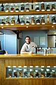 France, Tarn, Gaillac, wine producers restaurantvignes en foule', chef Julien Bourdaries and one of owners winemaker Patrice Lescaret