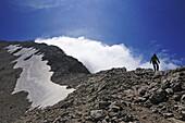 Mountaineer at west ridge of Corno Grande, Gran Sasso National Park, Abruzzi, Italy, Europe