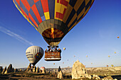 Hot-air-balloons over the Göreme valley, Göreme, Cappadocia, Turkey