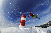 View at skier during jump, Reit im Winkl, Chiemgau, Upper Bavaria, Bavaria, Germany, Europe