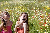 Caucasian ethnicity, child, childhood, Female, field, flower, girl, kid, spring, young, youth, F57-1148989, AGEFOTOSTOCK